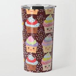 Cupcake Kawaii funny muzzle with pink cheeks and winking eyes Travel Mug