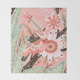 Little Pink Bird Throw Blanket