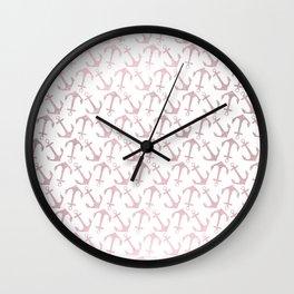 Blush pink white elegant faux rose gold nautical anchor Wall Clock