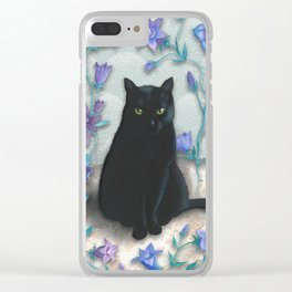 Black Cat with Bellflowers Clear iPhone Case
