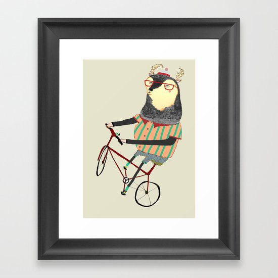 Deer on Bike.  Framed Art Print
