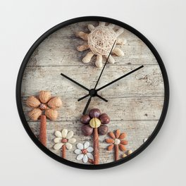 Dried fruits arranged forming flowers (3) Wall Clock