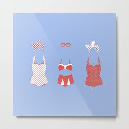 Retro Bathing Suits- Light Blue Metal Print