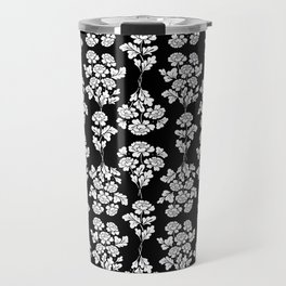 Floral pattern black Travel Mug