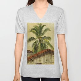 Palm Trees and Housetops, Ecuador - Frederic Edwin Church Unisex V-Neck