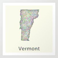 vermont Art Prints featuring Vermont map by David Zydd