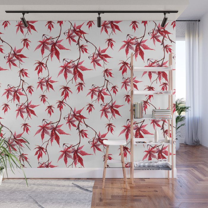 Watercolor Botanical Red Japanese Maple Leaves on Solid White Background Wall Mural