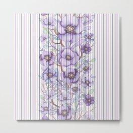 Watercolor purple lavender lilac floral stripes Metal Print