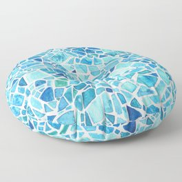 Watercolor mosaic blue tones Floor Pillow
