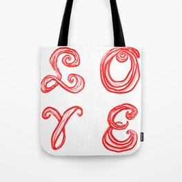 LOVE word art fabric font red letters inspired by Love Park in Philadelphia Tote Bag