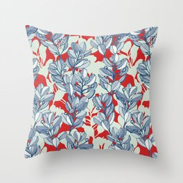 Leaf and Berry Sketch Pattern in Red and Blue Throw Pillow