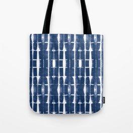 Shibori Stripes 3 Indigo Blue Tote Bag