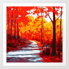 Tardis Art Autumn Tree Painting Art Print