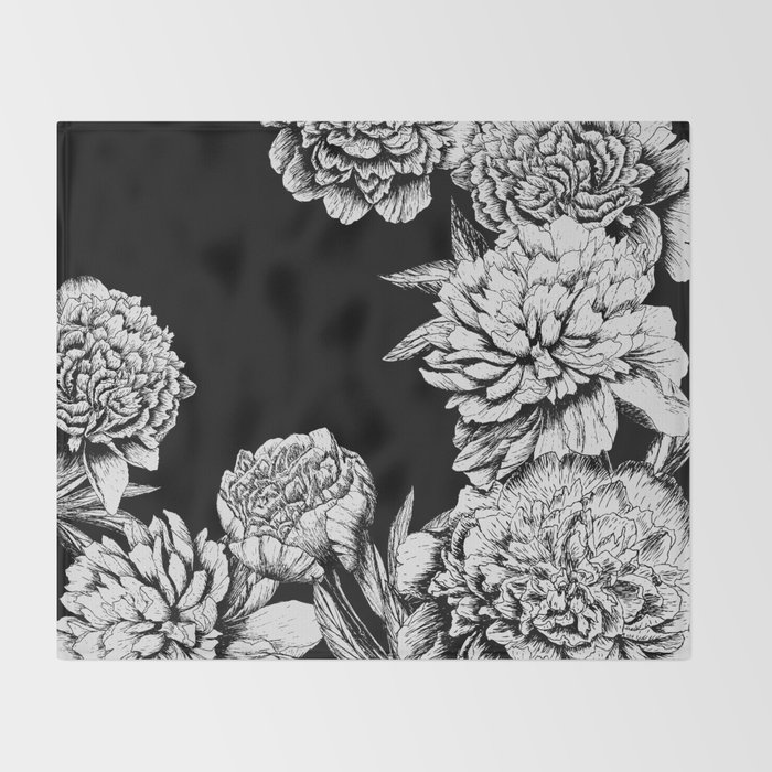 FLOWERS IN BLACK AND WHITE Throw Blanket