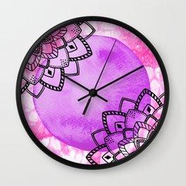 watercolor pink purple mandala Wall Clock