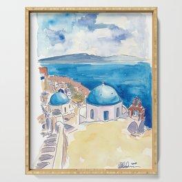 Santorini Oia View Mediterranean Dream Serving Tray