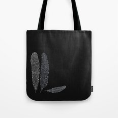 feathers on black Tote Bag