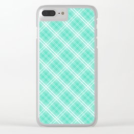 Pale Tiffany Blue and White Diagonal Plaid Tartan Check Clear iPhone Case