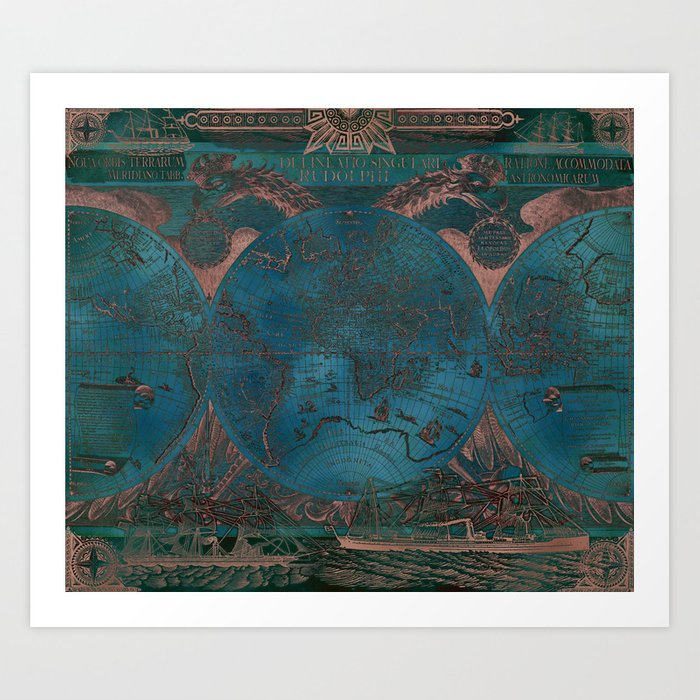 Rose gold and teal antique world map with sail ships Art Print