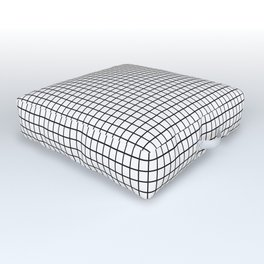 Black and White Grid Graph Outdoor Floor Cushion