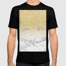 Modern faux gold glitter white marble color block Mens Fitted Tee Black MEDIUM