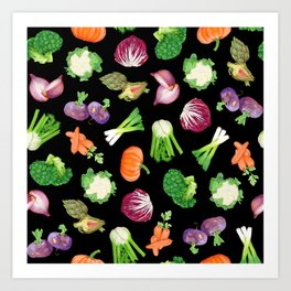 Black veggies pattern | Vegetables illustration pattern Art Print