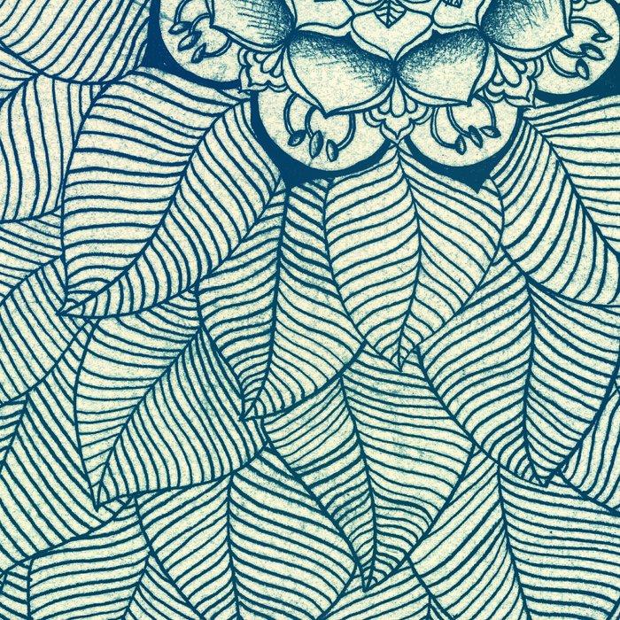 Emerald Green, Navy & Cream Floral & Leaf doodle Leggings