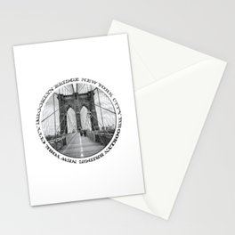 Brooklyn Bridge New York City (black & white badge emblem) Stationery Cards