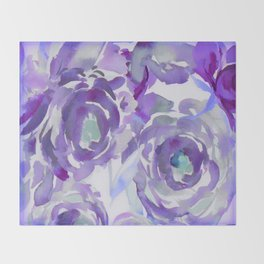 Purple Haze Painterly Floral Abstract Throw Blanket