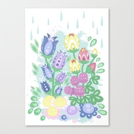 Meadow Flowers - Cartoon Flora no 2 Canvas Print