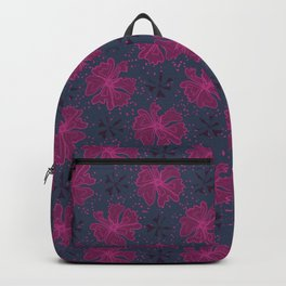 Purple Graphic Large Scale Flower Blooms Pattern, Seamless Backpack