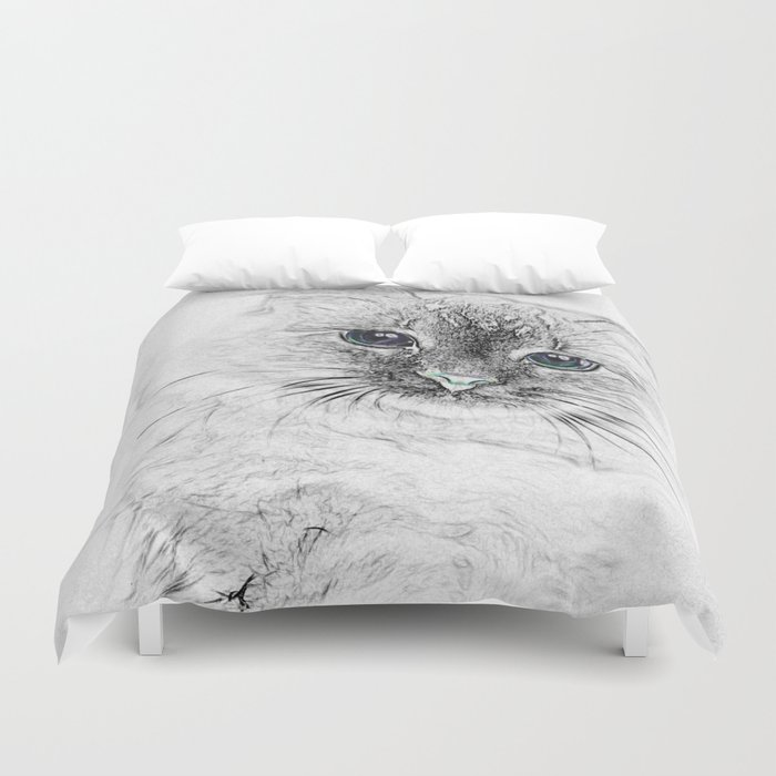 Siberian Kitty Cat Laying on the Marble Slab Duvet Cover
