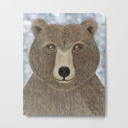 brown bear woodland animal portrait Metal Print