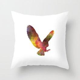Barn Owl 02 in watercolor Throw Pillow