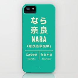 Retro Vintage Japan Train Station Sign - Nara City Green iPhone Case