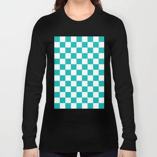 Checker (Tiffany Blue/White) Long Sleeve T-shirt