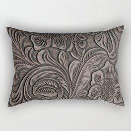 Distressed Smoky Tooled Leather Rectangular Pillow