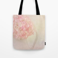 Pink Hydragea Flowers in White Vase Tote Bag
