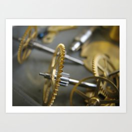 Cogs and gears from clocks, Time stands still  Art Print