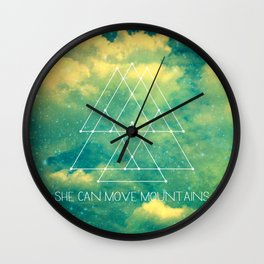 She Can Move Mountains Wall Clock