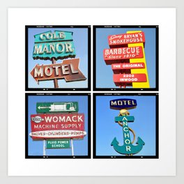 Vintage Signs Composite Series of 4 Art Print