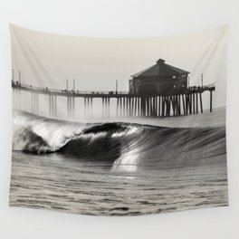 HB Pier North Side (b&w) Wall Tapestry