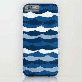 Classic Blue Wave Pattern iPhone Case