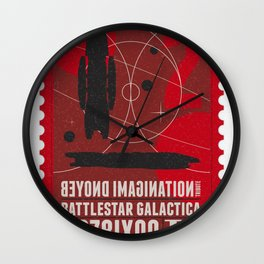 Beyond imagination: Battlestar Galactica postage stamp  Wall Clock