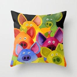 Fun Pigs Throw Pillow