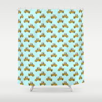 taxi driver Shower Curtains featuring New York taxi wallpaper by funkyworm