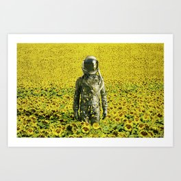Stranded in the sunflower field Art Print