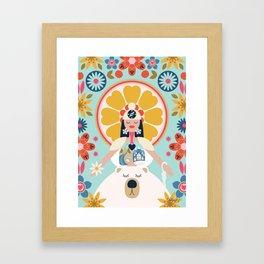 Her Bichos Yoga Framed Art Print