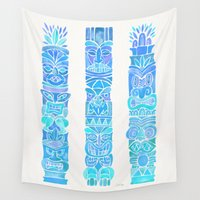 tiki Wall Tapestries featuring Tiki Totems – Turquoise Palette by Cat Coquillette