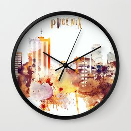 Orange watercolor Phoenix skyline Wall Clock